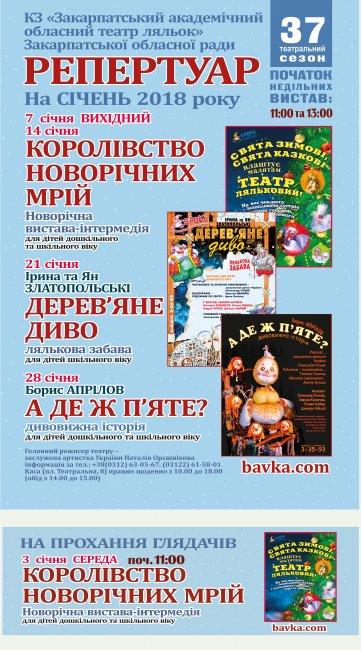"Репертуар театру ляльок ""БАВКА"" на січень 2018 р"